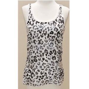 Express Black & White Leopard Animal Tank Top S